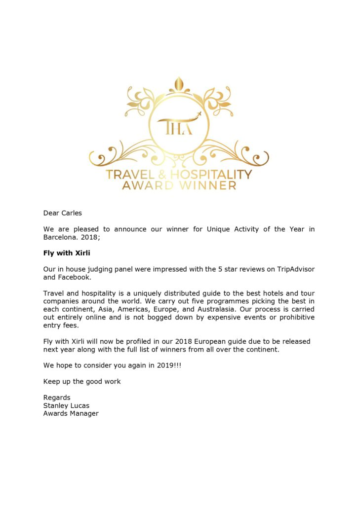 Fly with Xirli - Travel & Hospitality guide 2018 Award Winner
