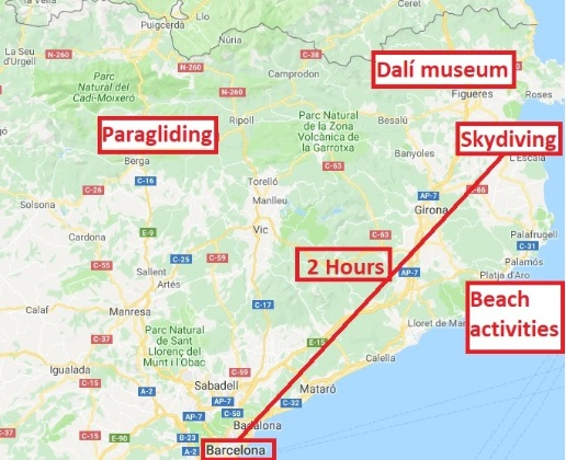 fly with xirli paraglding skydiving dali museum beach activities map