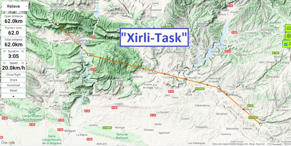"""""""Xirli-Task"""" for each day, and you can download it for your vario. Fly with Xirli paragliding"""