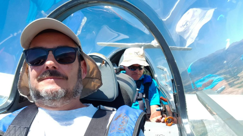 Fly in a Sailplane for 90 minutes in a very long flight. July.
